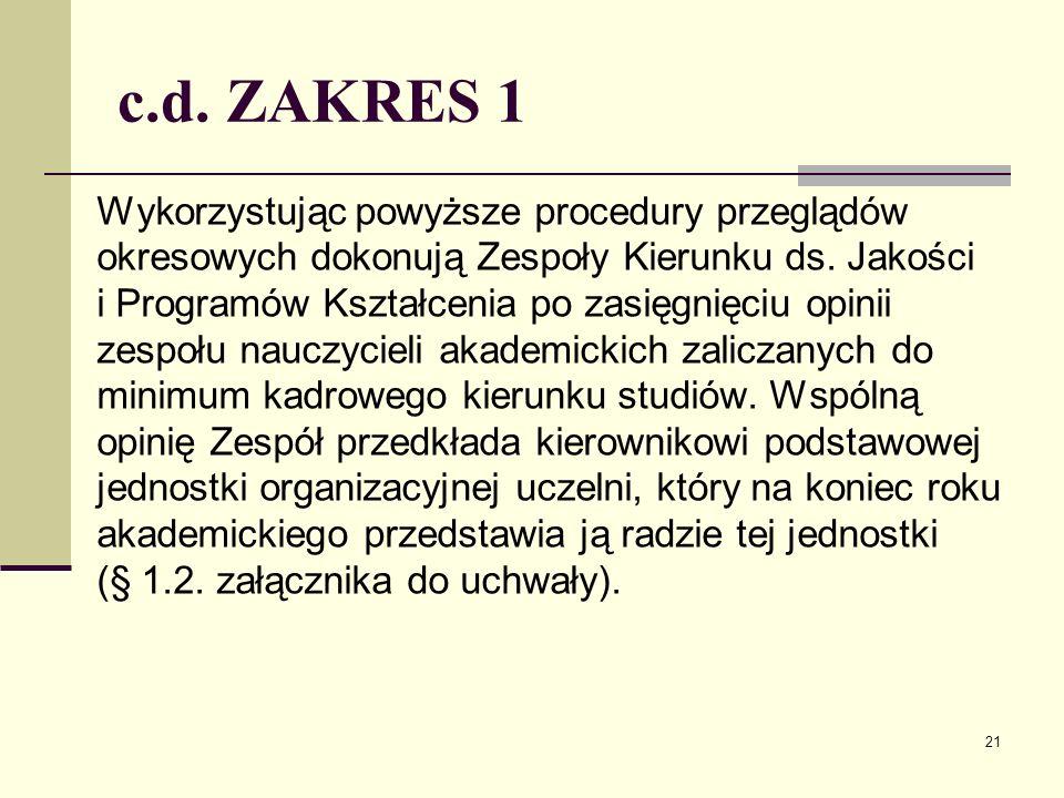 c.d. ZAKRES 1 Wykorzystując powyższe procedury przeglądów okresowych dokonują Zespoły Kierunku ds.