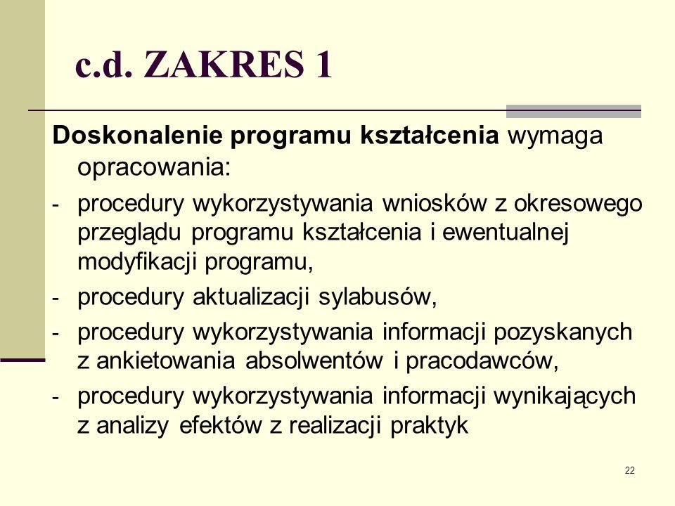 c.d. ZAKRES 1 Doskonalenie programu kształcenia wymaga opracowania: - procedury wykorzystywania wniosków z okresowego przeglądu programu kształcenia i