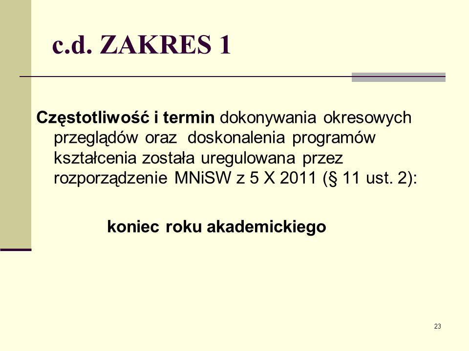 c.d. ZAKRES 1 Częstotliwość i termin dokonywania okresowych przeglądów oraz doskonalenia programów kształcenia została uregulowana przez rozporządzeni