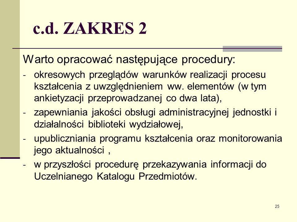 c.d. ZAKRES 2 Warto opracować następujące procedury: - okresowych przeglądów warunków realizacji procesu kształcenia z uwzględnieniem ww. elementów (w