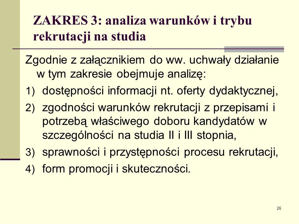 ZAKRES 3: analiza warunków i trybu rekrutacji na studia Zgodnie z załącznikiem do ww.