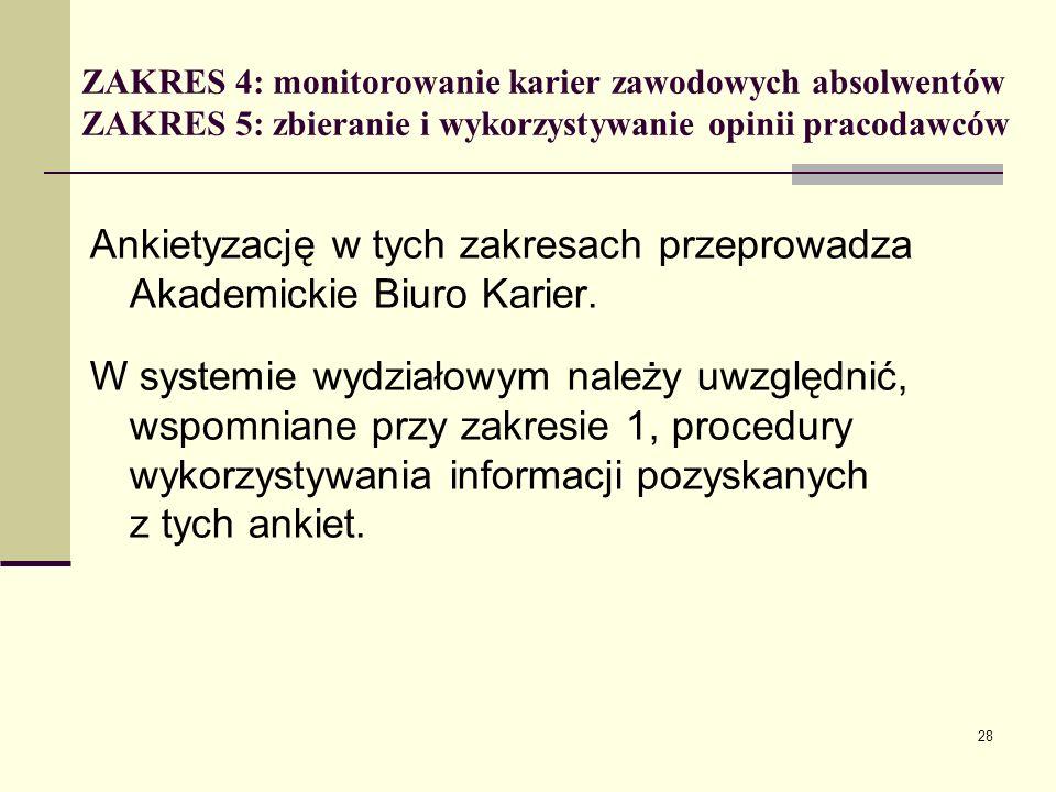 ZAKRES 4: monitorowanie karier zawodowych absolwentów ZAKRES 5: zbieranie i wykorzystywanie opinii pracodawców Ankietyzację w tych zakresach przeprowadza Akademickie Biuro Karier.