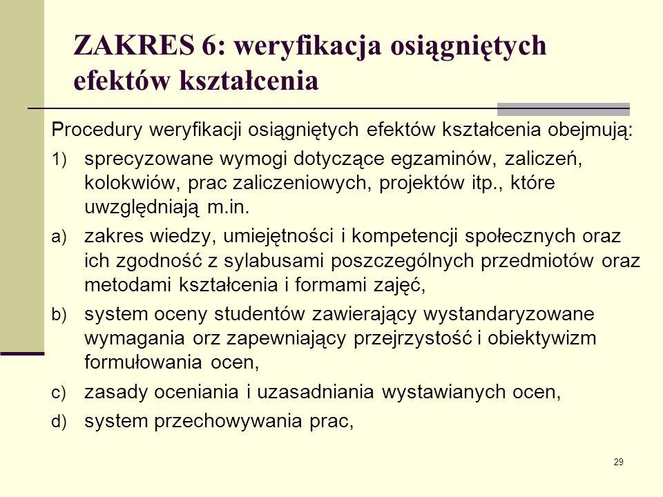 ZAKRES 6: weryfikacja osiągniętych efektów kształcenia Procedury weryfikacji osiągniętych efektów kształcenia obejmują: 1) sprecyzowane wymogi dotyczące egzaminów, zaliczeń, kolokwiów, prac zaliczeniowych, projektów itp., które uwzględniają m.in.