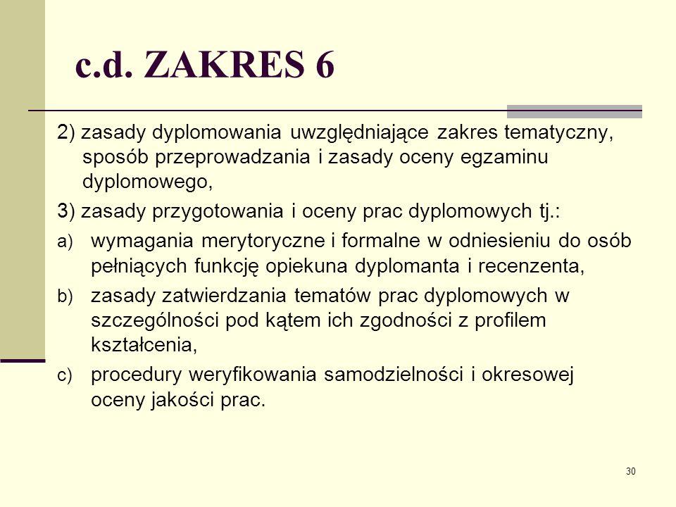 c.d. ZAKRES 6 2) zasady dyplomowania uwzględniające zakres tematyczny, sposób przeprowadzania i zasady oceny egzaminu dyplomowego, 3) zasady przygotow