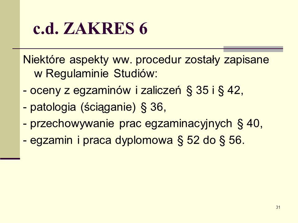 c.d. ZAKRES 6 Niektóre aspekty ww.