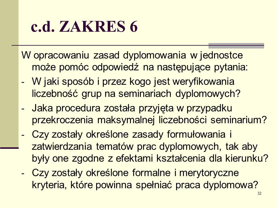 c.d. ZAKRES 6 W opracowaniu zasad dyplomowania w jednostce może pomóc odpowiedź na następujące pytania: - W jaki sposób i przez kogo jest weryfikowani