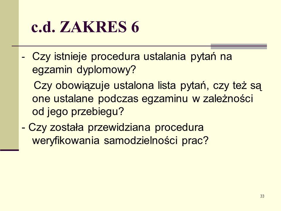 c.d. ZAKRES 6 - Czy istnieje procedura ustalania pytań na egzamin dyplomowy.