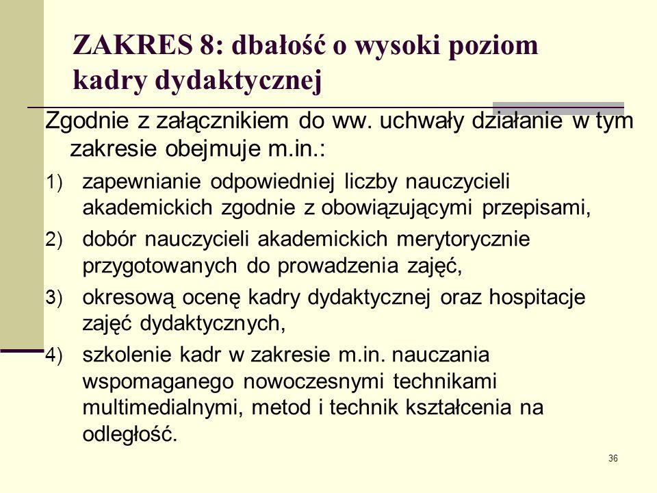ZAKRES 8: dbałość o wysoki poziom kadry dydaktycznej Zgodnie z załącznikiem do ww.