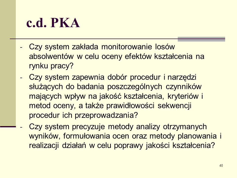 c.d. PKA - Czy system zakłada monitorowanie losów absolwentów w celu oceny efektów kształcenia na rynku pracy? - Czy system zapewnia dobór procedur i