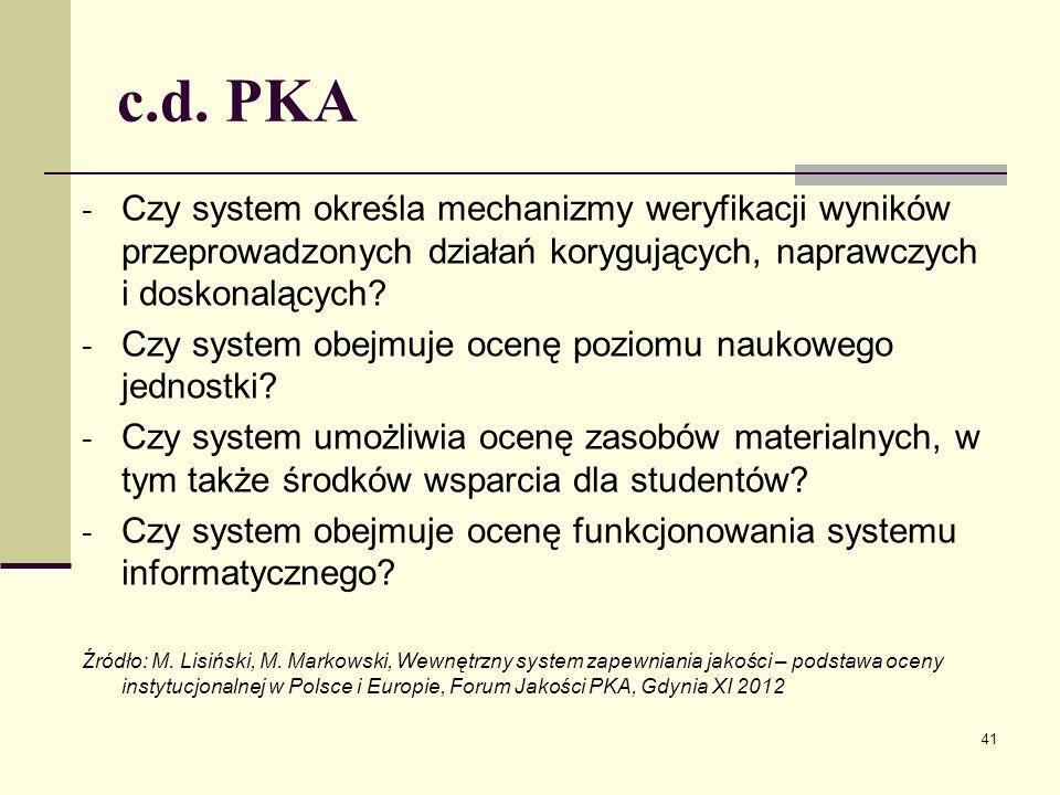 c.d. PKA - Czy system określa mechanizmy weryfikacji wyników przeprowadzonych działań korygujących, naprawczych i doskonalących? - Czy system obejmuje