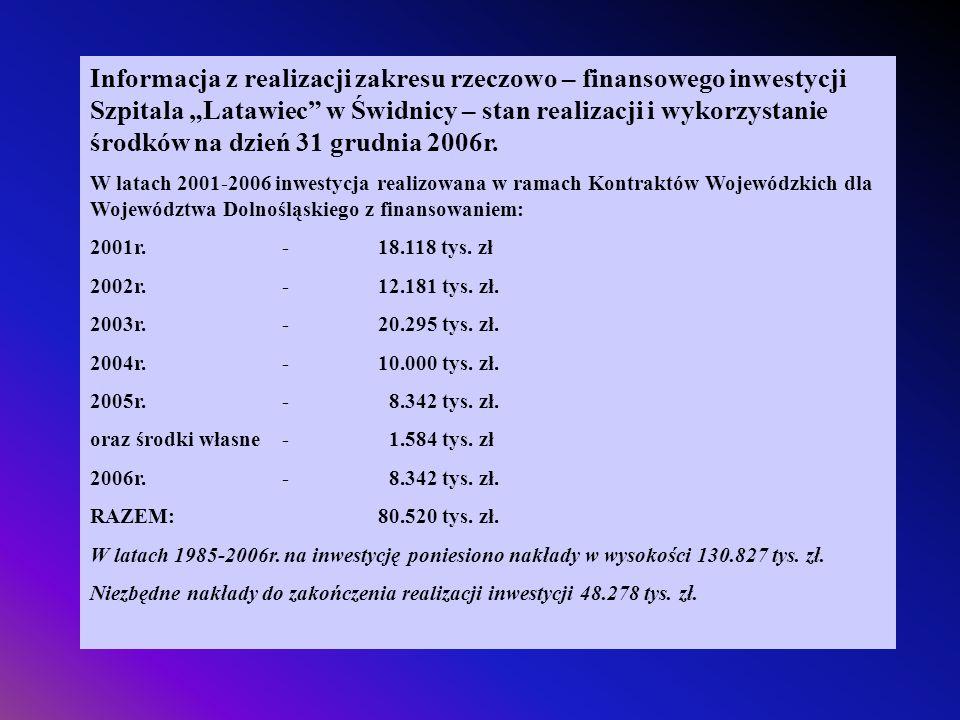Informacja z realizacji zakresu rzeczowo – finansowego inwestycji Szpitala Latawiec w Świdnicy – stan realizacji i wykorzystanie środków na dzień 31 g