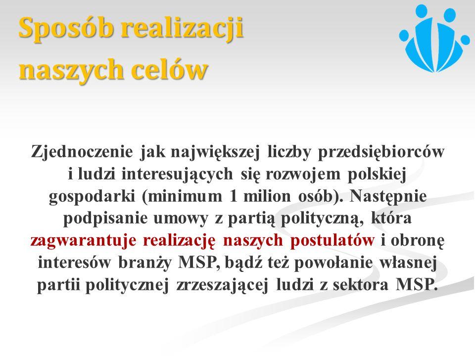 Sposób realizacji naszych celów Zjednoczenie jak największej liczby przedsiębiorców i ludzi interesujących się rozwojem polskiej gospodarki (minimum 1