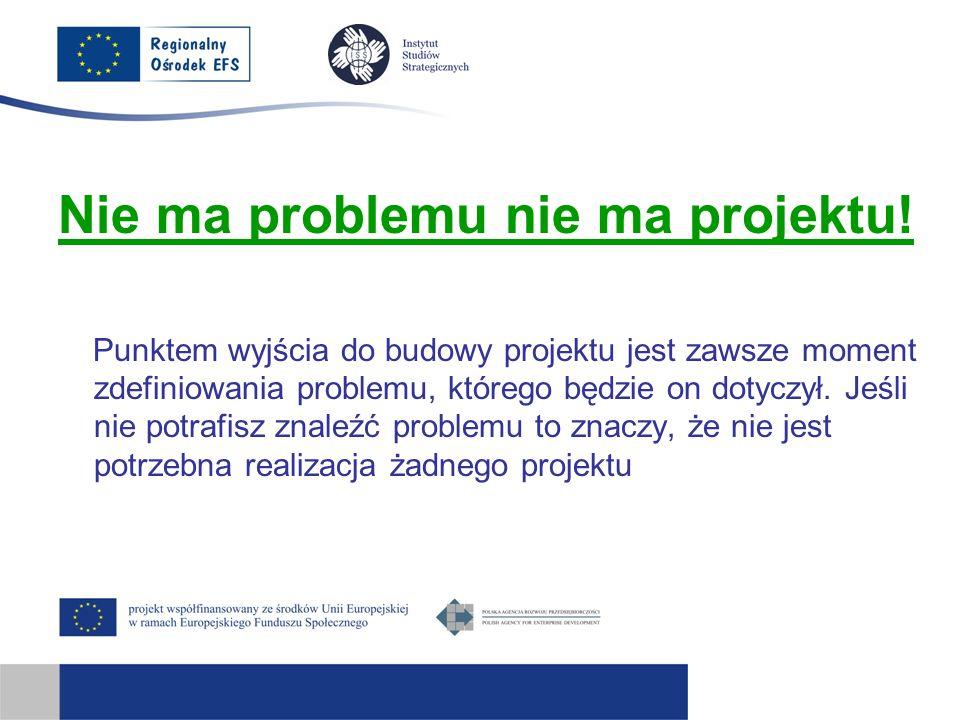 Nie ma problemu nie ma projektu! Punktem wyjścia do budowy projektu jest zawsze moment zdefiniowania problemu, którego będzie on dotyczył. Jeśli nie p