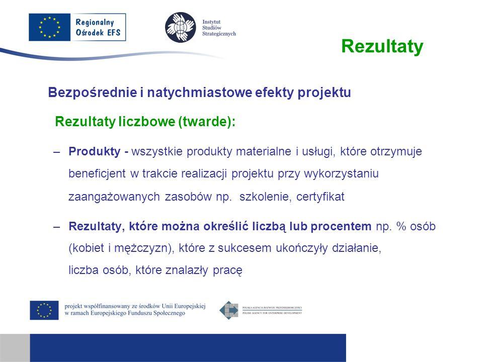 Rezultaty Bezpośrednie i natychmiastowe efekty projektu Rezultaty liczbowe (twarde): –Produkty - wszystkie produkty materialne i usługi, które otrzymu