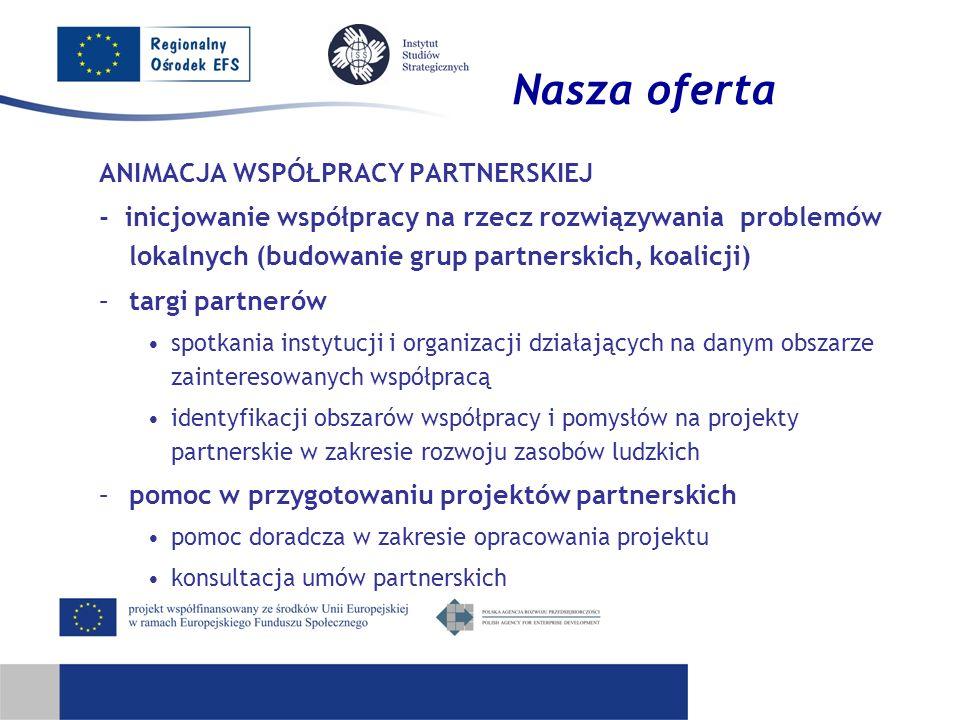 Nasza oferta ANIMACJA WSPÓŁPRACY PARTNERSKIEJ - inicjowanie współpracy na rzecz rozwiązywania problemów lokalnych (budowanie grup partnerskich, koalic