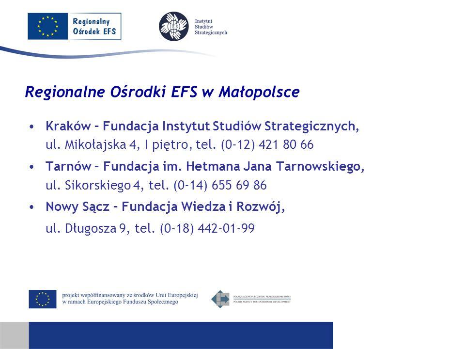 Regionalne Ośrodki EFS w Małopolsce Kraków – Fundacja Instytut Studiów Strategicznych, ul. Mikołajska 4, I piętro, tel. (0-12) 421 80 66 Tarnów – Fund