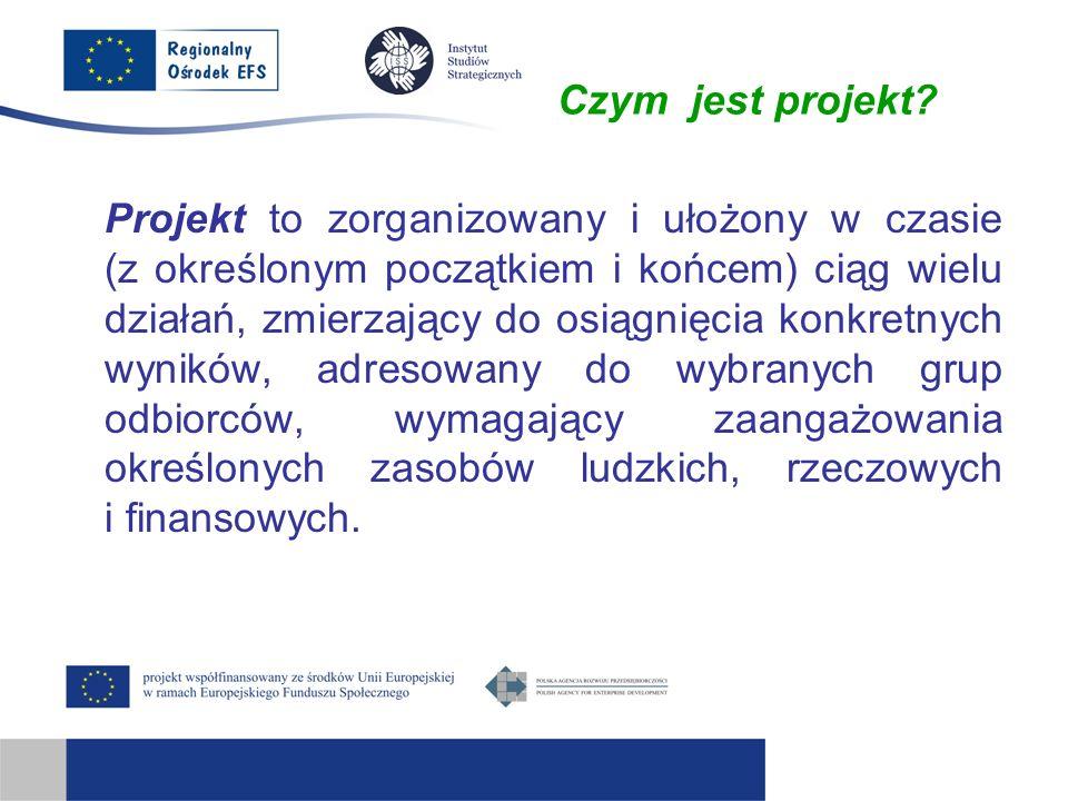 Czym jest projekt? Projekt to zorganizowany i ułożony w czasie (z określonym początkiem i końcem) ciąg wielu działań, zmierzający do osiągnięcia konkr