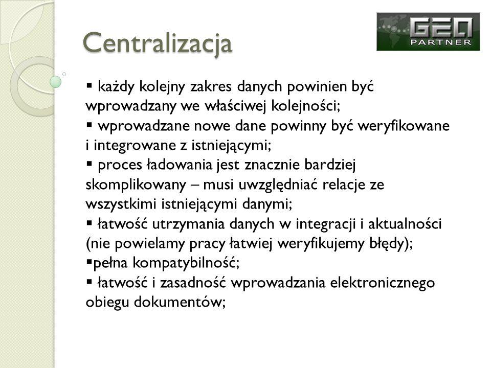 Centralizacja każdy kolejny zakres danych powinien być wprowadzany we właściwej kolejności; wprowadzane nowe dane powinny być weryfikowane i integrowa