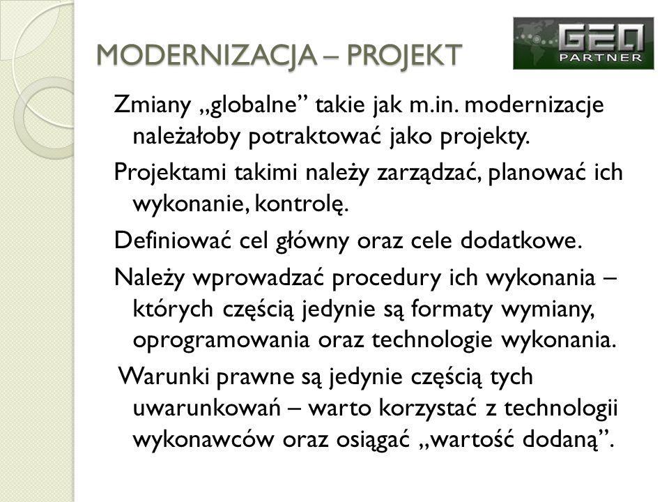 MODERNIZACJA – PROJEKT Zmiany globalne takie jak m.in. modernizacje należałoby potraktować jako projekty. Projektami takimi należy zarządzać, planować