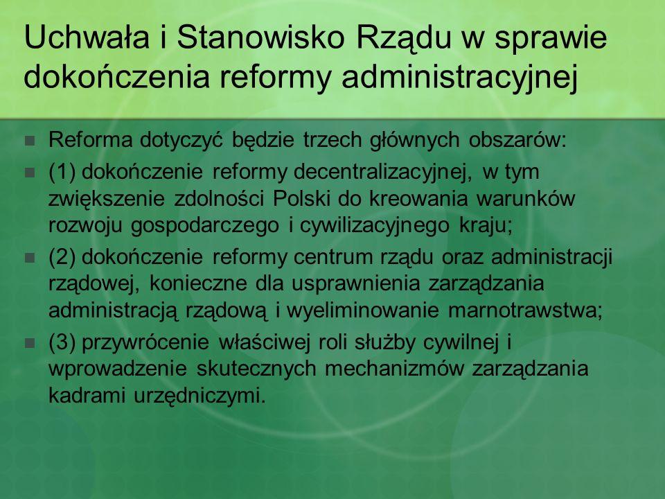 Uchwała i Stanowisko Rządu w sprawie dokończenia reformy administracyjnej Reforma dotyczyć będzie trzech głównych obszarów: (1) dokończenie reformy de