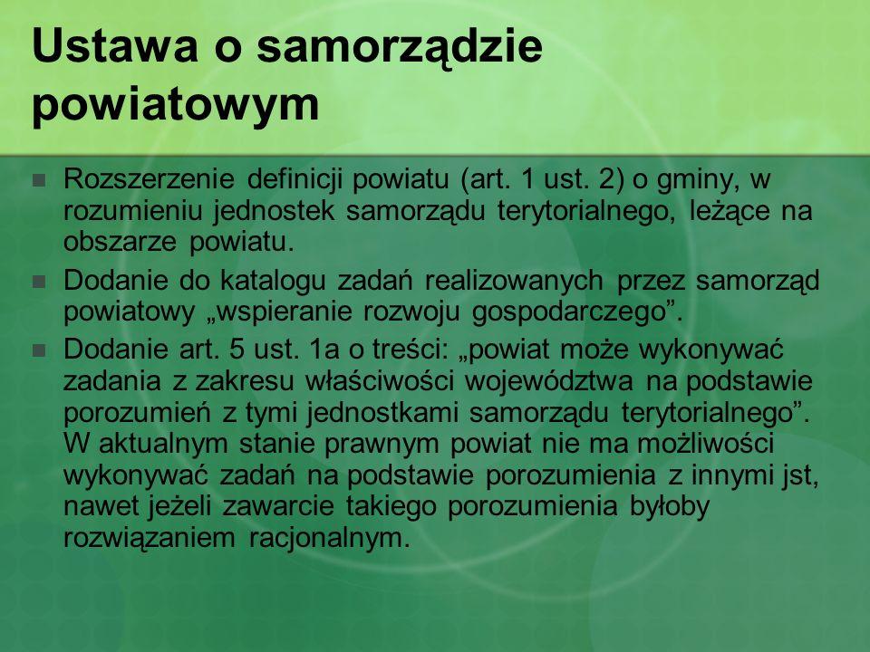 Ustawa o samorządzie powiatowym Rozszerzenie definicji powiatu (art. 1 ust. 2) o gminy, w rozumieniu jednostek samorządu terytorialnego, leżące na obs