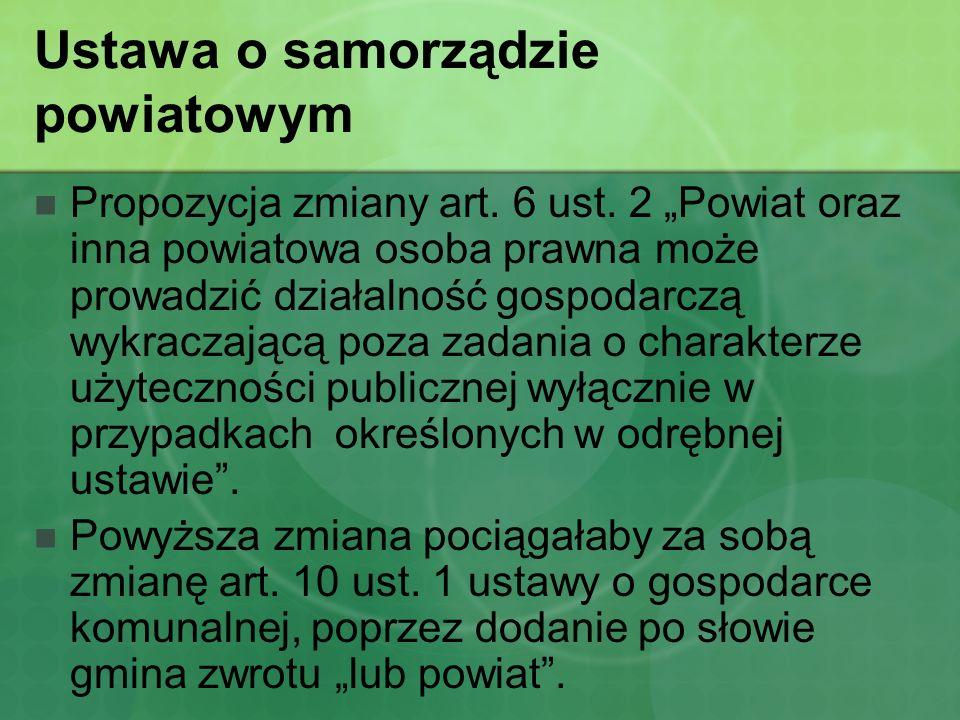 Ustawa o samorządzie powiatowym Zmiana art.8 ust.