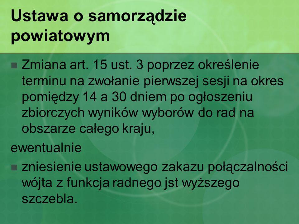 Ustawa o samorządzie powiatowym Skreślenie w art.20 ust.