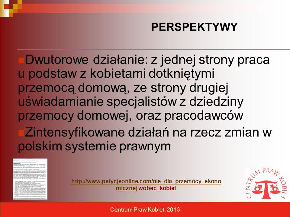 Dwutorowe działanie: z jednej strony praca u podstaw z kobietami dotkniętymi przemocą domową, ze strony drugiej uświadamianie specjalistów z dziedziny przemocy domowej, oraz pracodawców Zintensyfikowane działań na rzecz zmian w polskim systemie prawnym Centrum Praw Kobiet, 2013 http://www.petycjeonline.com/nie_dla_przemocy_ekono micznejhttp://www.petycjeonline.com/nie_dla_przemocy_ekono micznej wobec_kobiet PERSPEKTYWY
