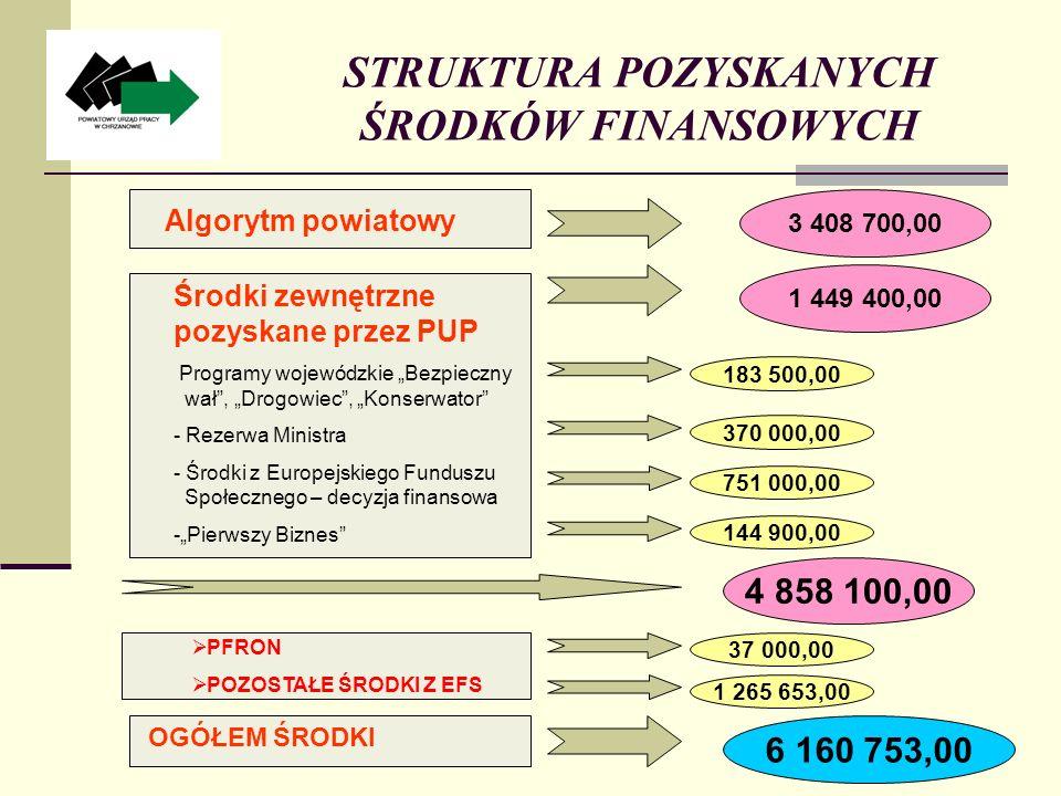 STRUKTURA POZYSKANYCH ŚRODKÓW FINANSOWYCH 3 408 700,00 1 449 400,00 183 500,00 6 160 753,00 Algorytm powiatowy Środki zewnętrzne pozyskane przez PUP Programy wojewódzkie Bezpieczny wał, Drogowiec, Konserwator - Rezerwa Ministra - Środki z Europejskiego Funduszu Społecznego – decyzja finansowa -Pierwszy Biznes OGÓŁEM ŚRODKI 370 000,00 751 000,00 4 858 100,00 144 900,00 37 000,00 1 265 653,00 PFRON POZOSTAŁE ŚRODKI Z EFS