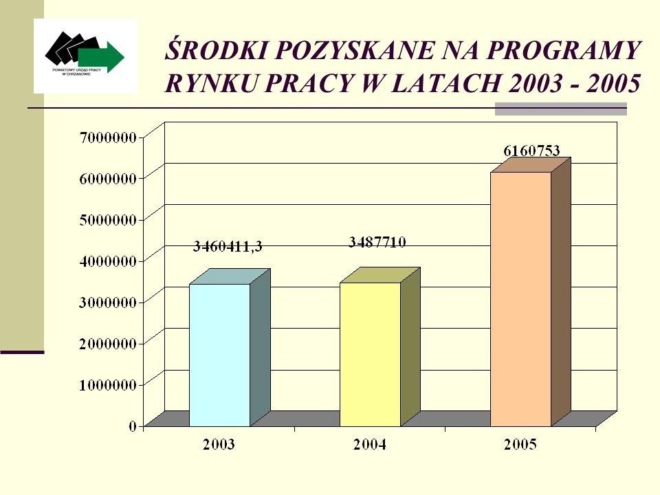 ŚRODKI POZYSKANE NA PROGRAMY RYNKU PRACY W LATACH 2003 - 2005