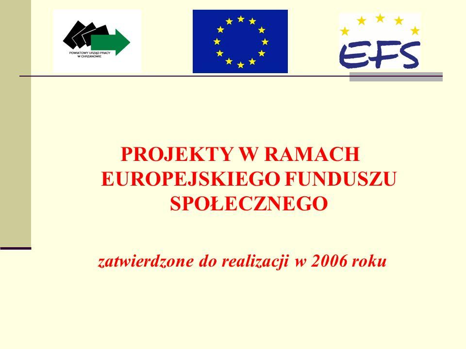 PROJEKTY W RAMACH EUROPEJSKIEGO FUNDUSZU SPOŁECZNEGO zatwierdzone do realizacji w 2006 roku