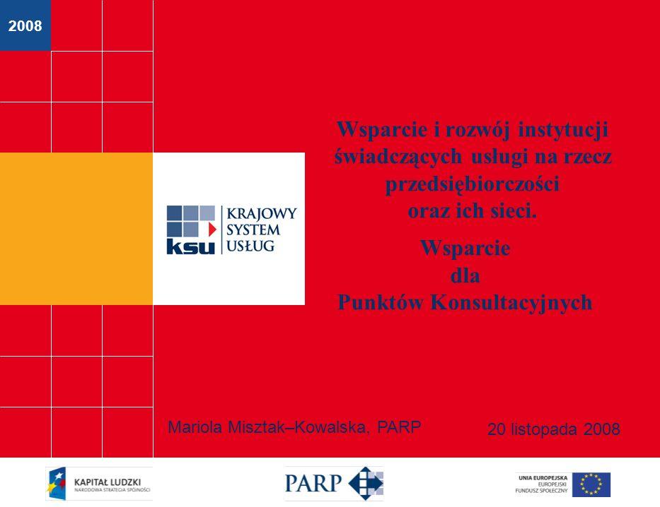 2008 Wsparcie i rozwój instytucji świadczących usługi na rzecz przedsiębiorczości oraz ich sieci.