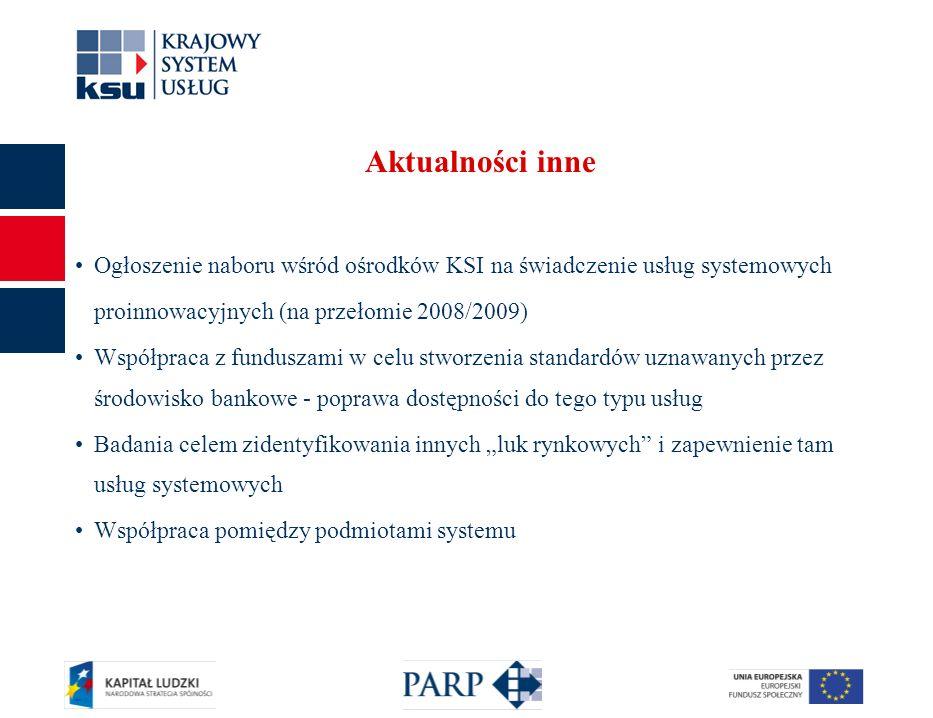 17 Aktualności inne Ogłoszenie naboru wśród ośrodków KSI na świadczenie usług systemowych proinnowacyjnych (na przełomie 2008/2009) Współpraca z funduszami w celu stworzenia standardów uznawanych przez środowisko bankowe - poprawa dostępności do tego typu usług Badania celem zidentyfikowania innych luk rynkowych i zapewnienie tam usług systemowych Współpraca pomiędzy podmiotami systemu