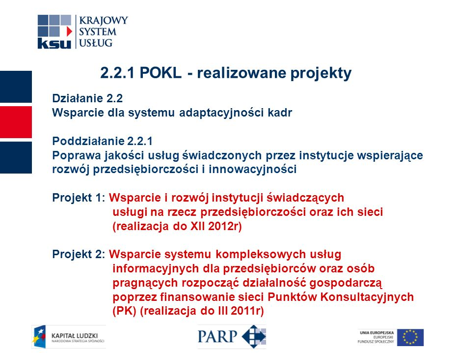 2 Działanie 2.2 Wsparcie dla systemu adaptacyjności kadr Poddziałanie 2.2.1 Poprawa jakości usług świadczonych przez instytucje wspierające rozwój przedsiębiorczości i innowacyjności Projekt 1: Wsparcie i rozwój instytucji świadczących usługi na rzecz przedsiębiorczości oraz ich sieci (realizacja do XII 2012r) Projekt 2: Wsparcie systemu kompleksowych usług informacyjnych dla przedsiębiorców oraz osób pragnących rozpocząć działalność gospodarczą poprzez finansowanie sieci Punktów Konsultacyjnych (PK) (realizacja do III 2011r) 2.2.1 POKL - realizowane projekty