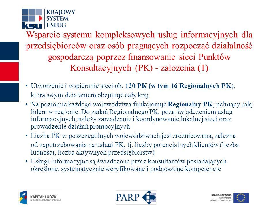 7 Wsparcie systemu kompleksowych usług informacyjnych dla przedsiębiorców oraz osób pragnących rozpocząć działalność gospodarczą poprzez finansowanie sieci Punktów Konsultacyjnych (PK) - założenia (1) Utworzenie i wspieranie sieci ok.