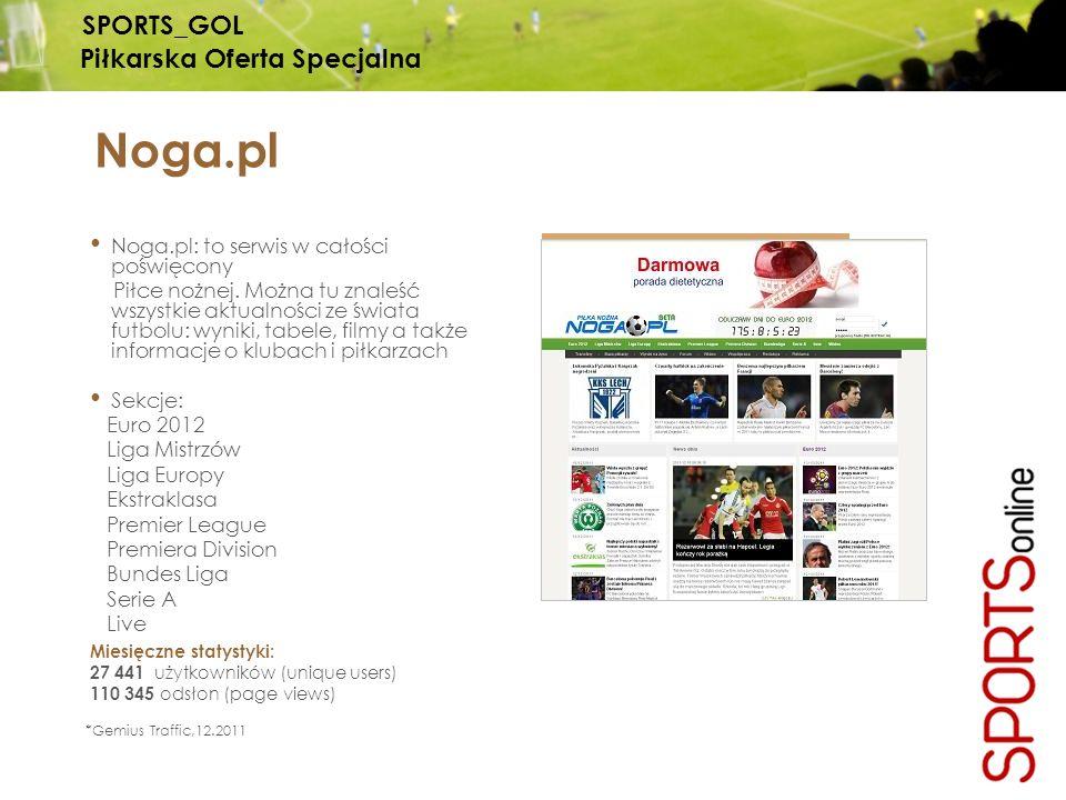 Noga.pl Noga.pl: to serwis w całości poświęcony Piłce nożnej. Można tu znaleść wszystkie aktualności ze świata futbolu: wyniki, tabele, filmy a także