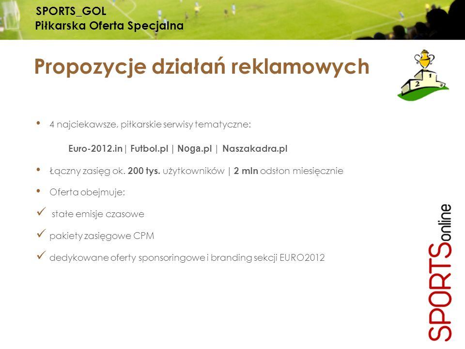 4 najciekawsze, piłkarskie serwisy tematyczne: Euro-2012.in | Futbol.pl | Noga.pl | Naszakadra.pl Łączny zasięg ok. 200 tys. użytkowników | 2 mln odsł
