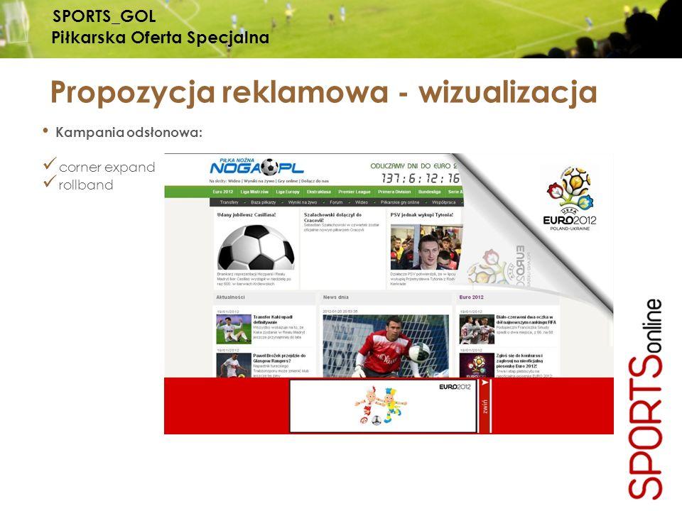 Kampania odsłonowa: corner expand rollband Propozycja reklamowa - wizualizacja SPORTS_GOL Piłkarska Oferta Specjalna