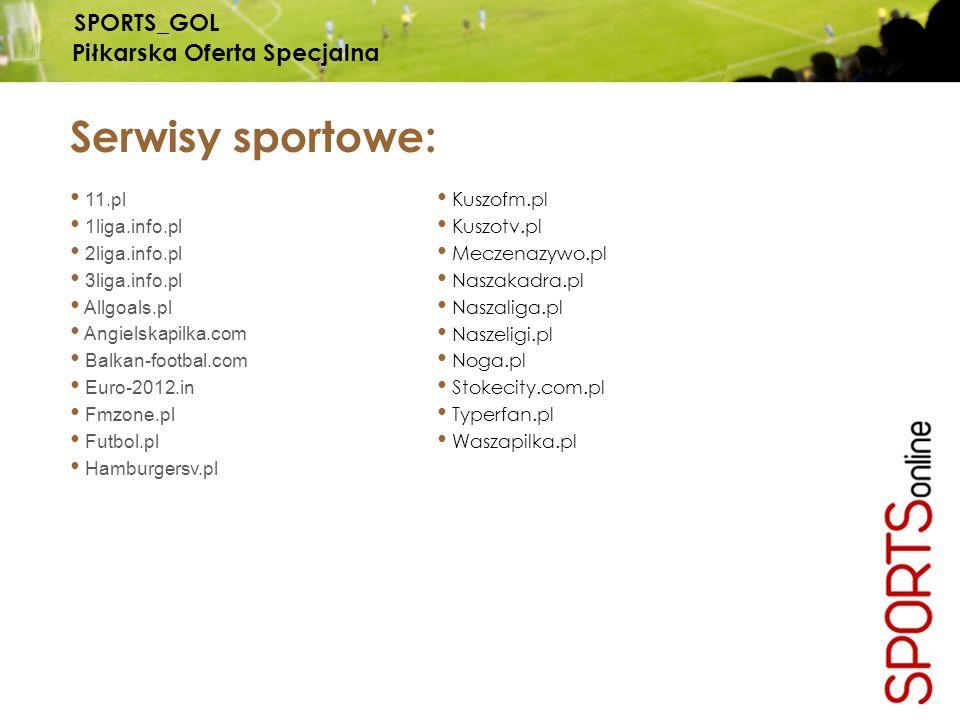 Serwisy sportowe: 11.pl 1liga.info.pl 2liga.info.pl 3liga.info.pl Allgoals.pl Angielskapilka.com Balkan-footbal.com Euro-2012.in Fmzone.pl Futbol.pl Hamburgersv.pl Kuszofm.pl Kuszotv.pl Meczenazywo.pl Naszakadra.pl Naszaliga.pl Naszeligi.pl Noga.pl Stokecity.com.pl Typerfan.pl Waszapilka.pl SPORTS_GOL Piłkarska Oferta Specjalna