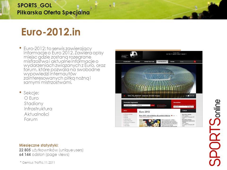 Euro-2012.in Euro-2012: to serwis zawierający informacje o Euro 2012. Zawiera opisy miejsc gdzie zostaną rozegrane mistrzostwa i aktualne informacje o