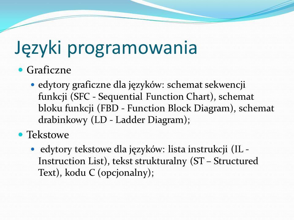 Rozszerzenia języka ST Sterowanie zegarem (zmienne zegarowe): TSTART, TSTOP; Zarządzanie programami (podprogramy): GSTART, GKILL, GFREEZE, GRST, GSTATUS; Wyrażenie systemowe: zm_analog := SYSTEM (rozkaz, argument); Wyrażenie akcji: zm_analog := OPERATE (zm_we_wy, rozkaz, argument);
