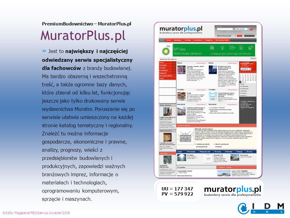 MuratorPlus.pl UU = 177 347 PV = 579 922 » Jest to największy i najczęściej odwiedzany serwis specjalistyczny dla fachowców z branży budowlanej. Ma ba