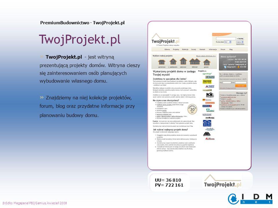 TwojProjekt.pl UU= 36 810 PV= 722 161 » TwojProjekt.pl - jest witryną prezentującą projekty domów. Witryna cieszy się zainteresowaniem osób planującyc