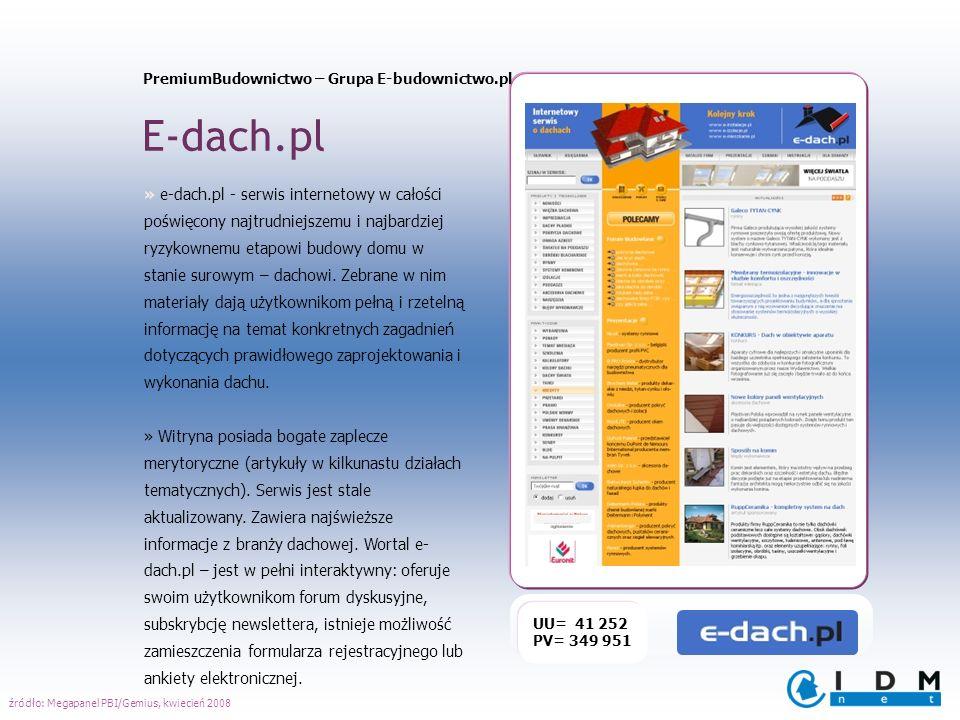 PremiumBudownictwo – Grupa E-budownictwo.pl E-dach.pl UU= 41 252 PV= 349 951 » e-dach.pl - serwis internetowy w całości poświęcony najtrudniejszemu i