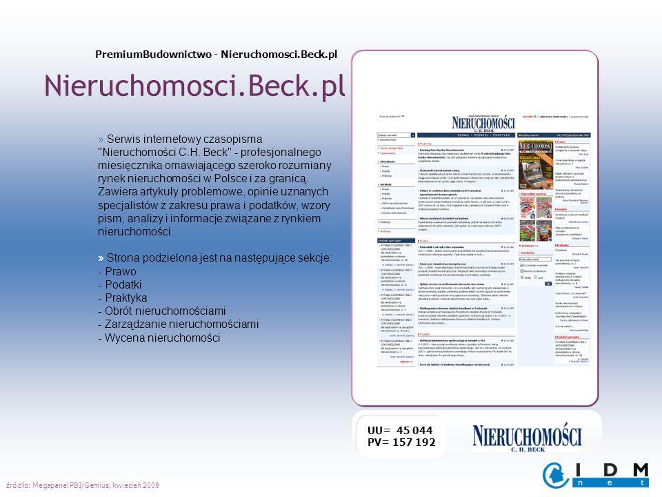 Nieruchomosci.Beck.pl UU= 45 044 PV= 157 192 » Serwis internetowy czasopisma