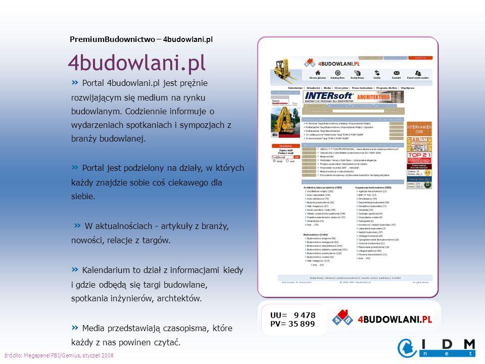 4budowlani.pl UU= 9 478 PV= 35 899 » Portal 4budowlani.pl jest prężnie rozwijającym się medium na rynku budowlanym. Codziennie informuje o wydarzeniac