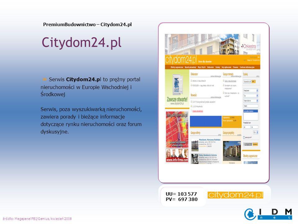 Citydom24.pl UU= 103 577 PV= 697 380 » Serwis Citydom24.pl to prężny portal nieruchomości w Europie Wschodniej i Środkowej Serwis, poza wyszukiwarką n