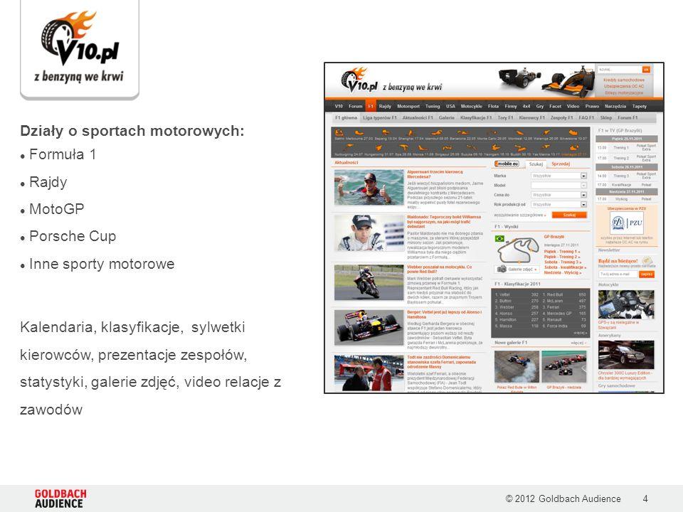 © 2012 Goldbach Audience4 Działy o sportach motorowych: Formuła 1 Rajdy MotoGP Porsche Cup Inne sporty motorowe Kalendaria, klasyfikacje, sylwetki kierowców, prezentacje zespołów, statystyki, galerie zdjęć, video relacje z zawodów