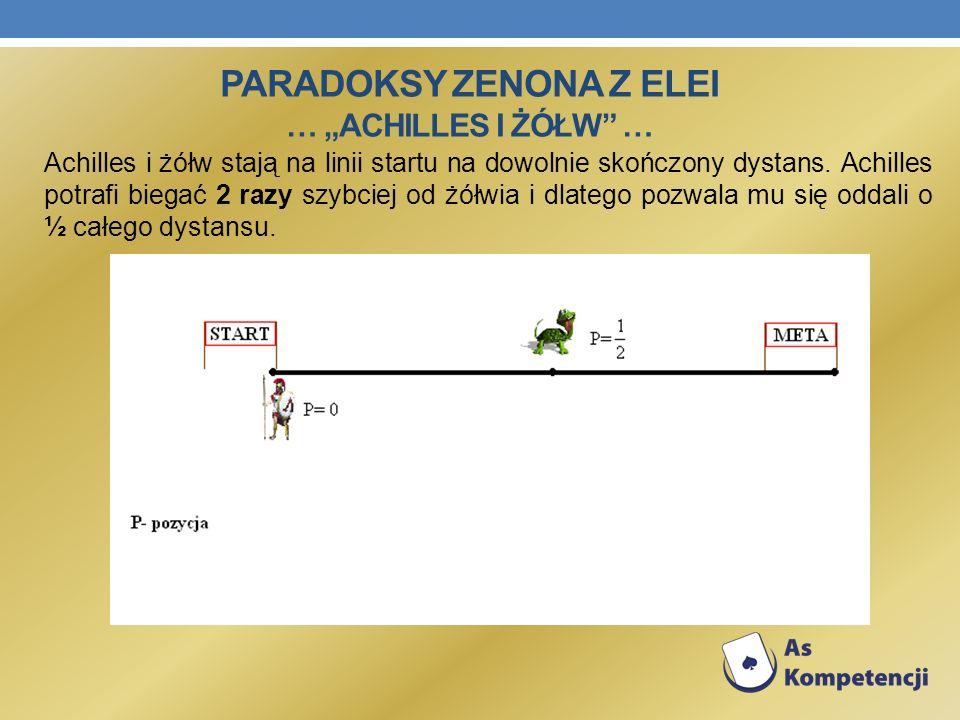 Achilles i żółw stają na linii startu na dowolnie skończony dystans. Achilles potrafi biegać 2 razy szybciej od żółwia i dlatego pozwala mu się oddali