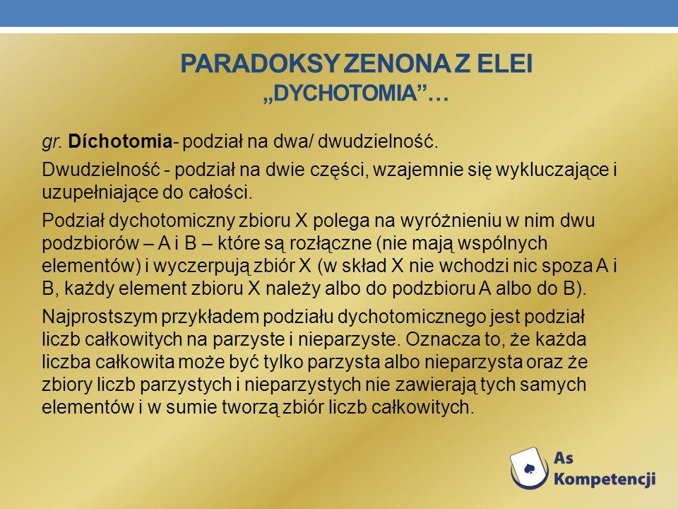 PARADOKSY ZENONA Z ELEI DYCHOTOMIA… gr. Díchotomia- podział na dwa/ dwudzielność. Dwudzielność - podział na dwie części, wzajemnie się wykluczające i